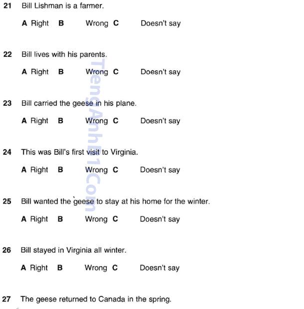 Đề thi tiếng Anh A2 đọc phần 4.2